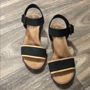 Black Leather Toms Sandals
